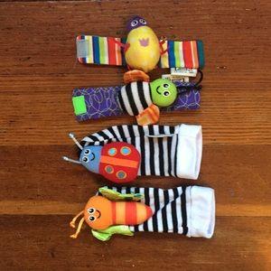 Lamaze baby rattle sock and wristlet set